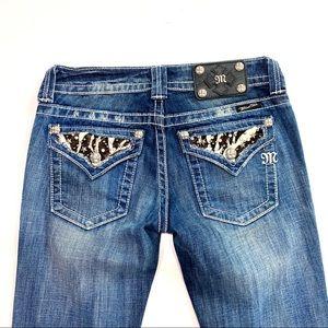 Miss me boot cut zebra print jeans